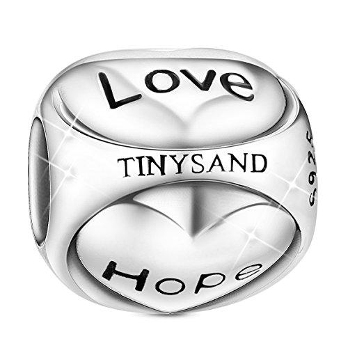 Faith Hope Love Heart Charm - TINYSAND 925 Sterling Silver