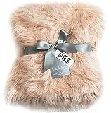 Nicole Miller Blush Rose Gold Luxury Mongolian Lamb Wool Faux Fur High Low Throw Blanket Straight Long Hair Plush Lush Artificial Pale Pink Fur with Gift Box