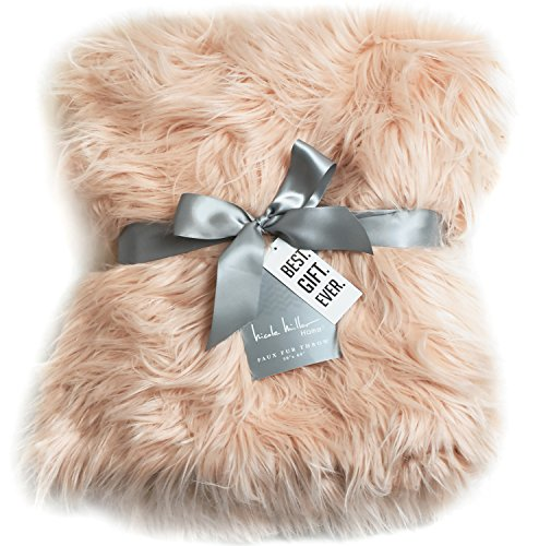 - Nicole Miller Blush Rose Gold Luxury Mongolian Lamb Wool Faux Fur High Low Throw Blanket Straight Long Hair Plush Lush Artificial Pale Pink Fur with Gift Box