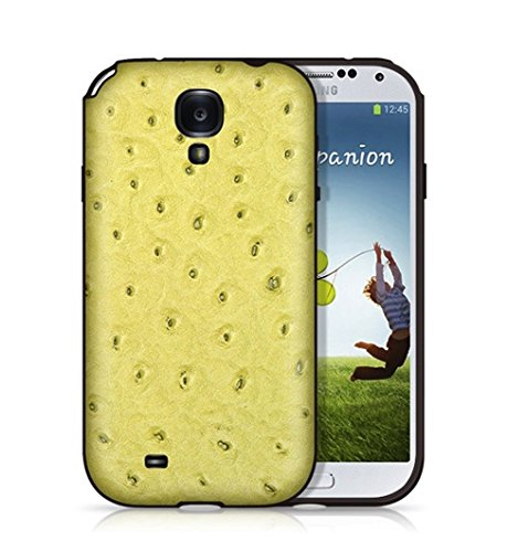 (BACKHUG Slim Better Grip Premium Leather TPU Suede 3 Step Hybrid Impact Protector Skin Case for Samsung Galaxy S4 - Black Bumper and Ostrich Green Collection, Made In Korea)