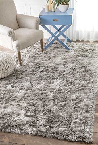nuLOOM Handmade Soft and Plush Silken Solid Shag Area Rug, 5