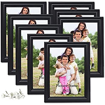 455429bedfc PETAFLOP 8x10 Picture Frames Black 8 by 10 Decorative Poster Frame Wall and  Desktop Display