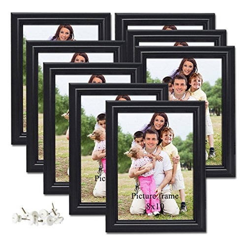 PETAFLOP 8x10 Picture Frames Black 8 by 10 Decorative Poster Frame Wall and Desktop Display, Set of 8]()
