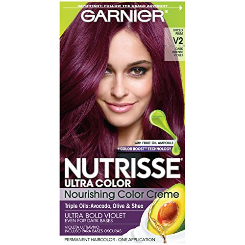 Garnier Nutrisse Ultra Color Nourishing Hair Color Creme, V2 Dark Intense Violet (Packaging May Vary) (Dark And Lovely Go Intense Passion Plum)