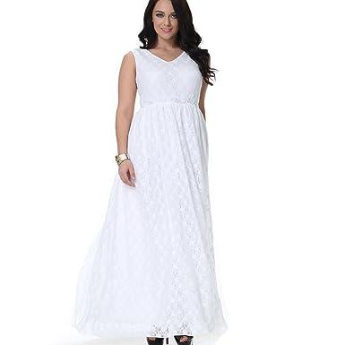 Greenis Women Evening Dress Bridesmaid Maxi Soft Lace V Neck ...