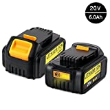 2x Murllen 6.0Ah Dewalt 20v Battery Replacement for Dewalt 20v Max XR DCB206 DCB204 DCB205 DCB205-2 DCB200 DCB180 DCD985B DCD771C2 DCS355D1 DCD790B Cordless Power Tools