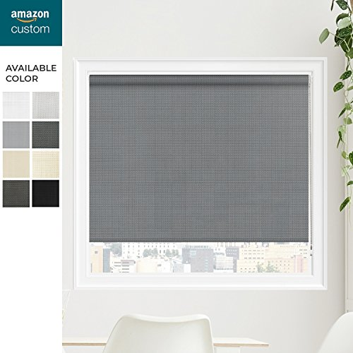 CHICOLOGY Custom-Made Corded Roller Shade, No Valance, Inside Mount Right Chain, Panoramic Slate 46″ W X 60″ H