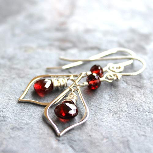 (Garnet Earrings Sterling Silver Delicate Dangles Wire Wrapped Red Stones)