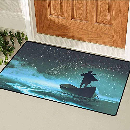 GloriaJohnson Ocean Inlet Outdoor Door mat Man Rowing Boat in Sea Under Majestic Foggy Sky with Milky Way Magical View Catch dust Snow and mud W31.5 x L47.2 Inch Dark -
