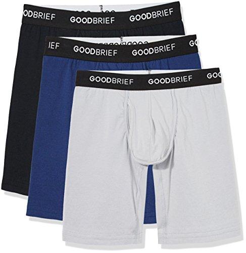 Good Brief Men's 3-Pack Cotton Stretch Long Leg Boxer Briefs Medium Multi Color (Black Light Grey Navy) Basic Waistband