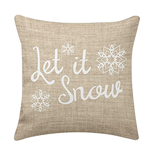 Aremazing Christmas Snowman & Let It Snow Super Soft Cotton Linen Throw Pillow Case Cushion Cover Home Office Decorative 16 X 16 Inches (Let It Snow) (Pillow Throw Snowman)