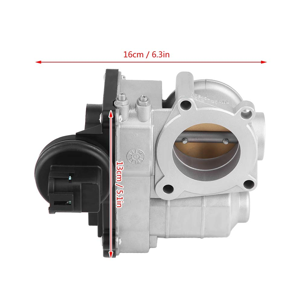 Terisass SERA576-02 Electronic Throttle Body Assembly Fuel Injection Throttle Body for Nissan K12 Micra 2003 2004 2005 2006 2007 2008 2009 2010 Silver Color Iron