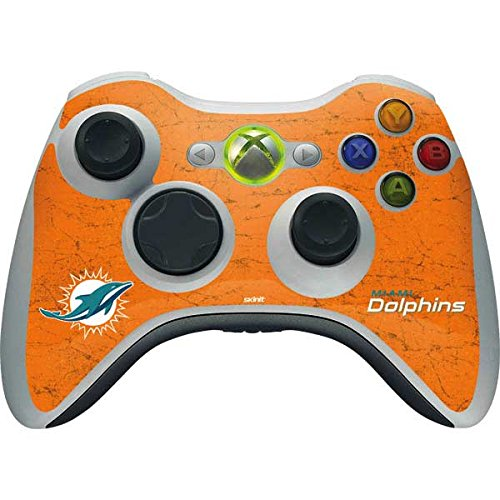 (Skinit NFL Miami Dolphins Xbox 360 Wireless Controller Skin - Miami Dolphins Distressed- Orange Design - Ultra Thin, Lightweight Vinyl Decal Protection)