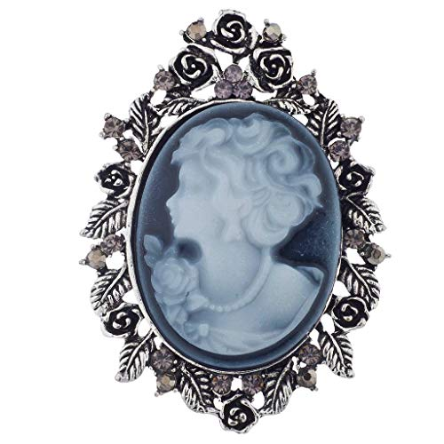 Lux Accessories Silver Antique Blue Cameo Brooch Burnished Flower Leaf Pin - Chain Brooch Cameo