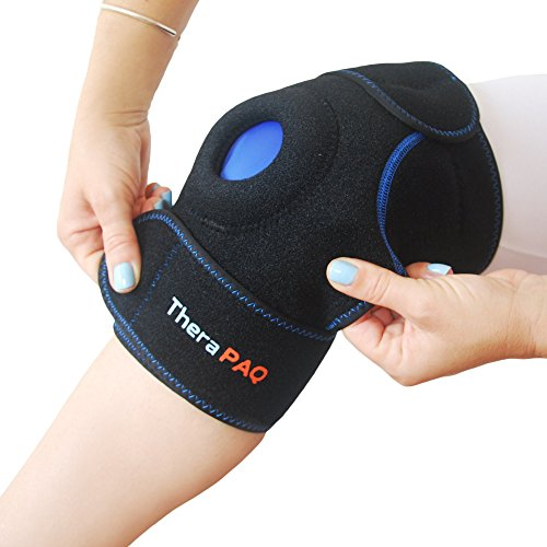 (Knee Ice Pack Wrap by TheraPAQ: Hot & Cold Therapy Knee Support Brace - Reusable Compression Sleeve for Bursitis Pain Relief, Meniscus Tear, Rheumatoid Arthritis, Injury Recovery, Sprains & Swelling)