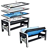 ESPN Multi Game Table 4-in-1 Swivel Combo Game Table, 4 Games with Hockey, Billiards, Table Tennis and Finger Shoot Basketball
