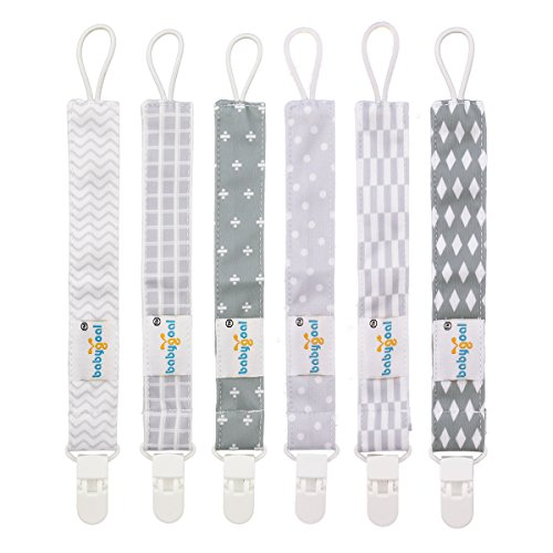 - Babygoal Pacifier Clips for Boys, 6 Pack Pacifier Holder Fits Most Pacifier Styles &Teething Toys and Baby Shower Gift 6PS09