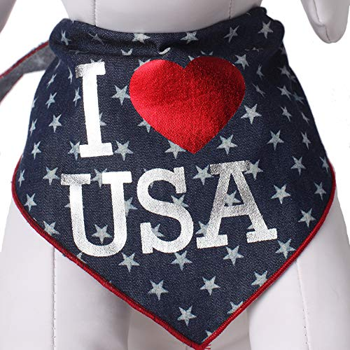 Tail Trends Dog Bandanas Star I <3 USA 4th of July Design - 100% Cotton