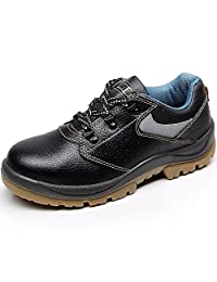 Rismart Unisex Women Men Genuine Cow Leather Steel Toe Cap Black Work&Safety Shoes