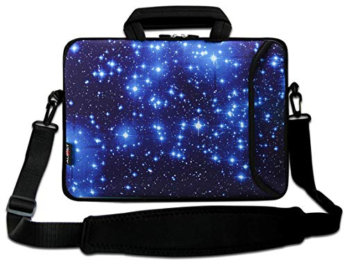 AUPET 17 17.3 Laptop Shoulder Bag Carrying Case Computer PC Cover Pouch+Handle for 16/17/17.3/17.4 inch Laptop Notebook (Blue Shining Stars)