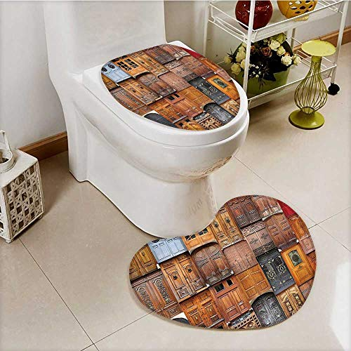 vanfan Cushion Non-slip Toilet Mat Valencia Spain light Mediterranean Residence Entering Old City with High Absorbency by vanfan