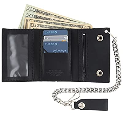 Men's Tri-fold Vintage Cowhide Top Grain Leather Steel Chain Wallet,Snap closure, Made In USA,