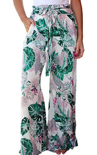 New Outfit 2019 (ECOWISH Women's Casual Floral Print Belted Summer Beach High Waist Wide Leg Pants with Pockets White)