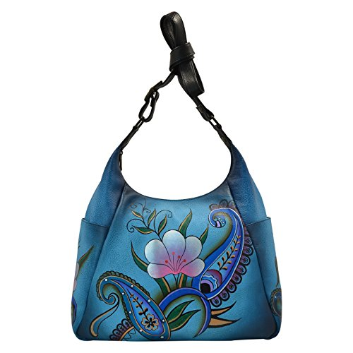 Anna By Anuschka Handpainted Large Multi Pocket Hobo,Denim Paisley Floral, DPF