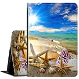 Kindle Paperwhite Case (10th Generation,2018 Version), Multi-Angle Viewing Folio Stand Cute Cover Cases for Amazon Kindle Paperwhite 4 e-Reader 6 inch 2018 -Beautiful Beach Seashells