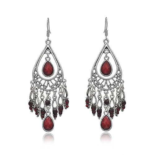 Dangling Red Flower - Vintage Retro Style Tassels Dangle Earring Fashion Chandeliers Earrings EAG080 (Red)