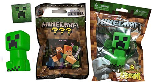 Green Soft Creeper Foam Minecraft Slow Rise Adventure Chest Series + Mini Figure Metal Nano Blind Pack Collectible Figure + Creeper Face 8-bit Sticker Bundle