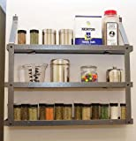 Three Tier Spice Rack: Hammered Steel & Black Wood