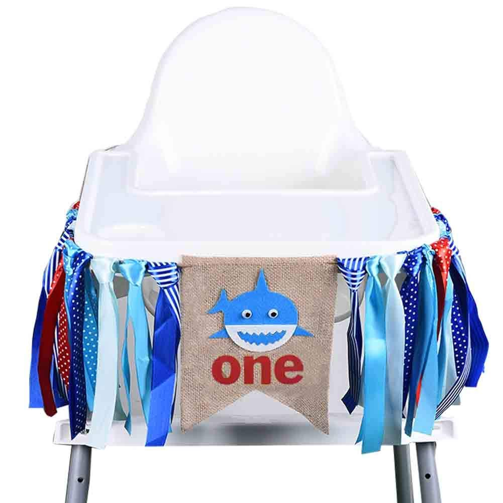 Samahara Baby Shark Party Supplies One Birthday Party High Chair Banner Garland 1st Baby Boy Party Decorations