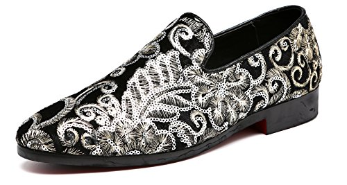 Men's Luxury Penny Loafers Slip-On Designer Moccasins Sparkling Embroidery Flower Wedding Shoes (9.5, Black) by M-anxiu