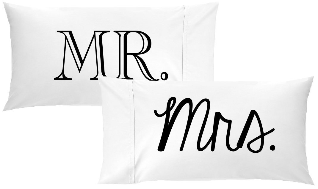 Oh, Susannah Mr and Mrs Pillow Cases Gift for Couples Wedding Decoration Bride and Groom for Her or Him His and Hers Gifts (Two 20x40 King Size Pillowcases) Valentines Day Present