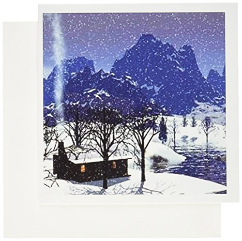3dRose Log Cabin in Snow Scene - Greeting Cards, 6 x 6 inches, set of 6 (gc_60818_1)