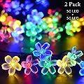 Vmanoo Solar Christmas Flower Starry Fairy String Lights 21ft 50 LED Blossom Decorative Light