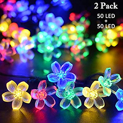 Vmanoo Solar Christmas Flower Starry Fairy String Lights 21ft 50 LED Blossom Decorative Light