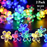 VMANOO Solar Outdoor Christmas String Lights 21ft 50 LED Fairy Flower Blossom Decorative Light for Indoor Garden Patio Party Xmas Tree Decorations 2-PACK (Multi-color)
