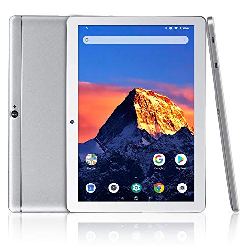 Dragon Touch K10 Tablet 10.1 inch Android Tablet with 16 GB Quad Core Processor, 1280x800 IPS HD Display, Micro HDMI, GPS, FM - Silver Metal Body