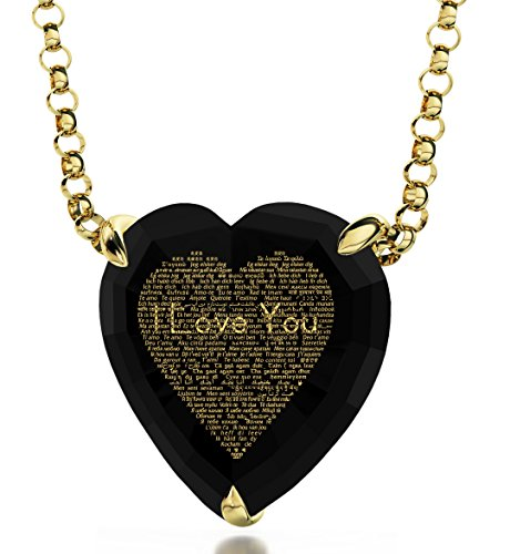 Nano Jewelry Gold Plated Heart Necklace 120 Languages I Love You 24k Gold Inscribed on Cubic Zirconia, 18 Gold Filled