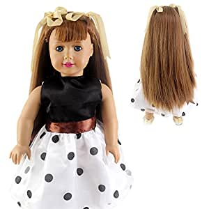 STfantasy American Girl Doll Wigs Long Straight Light Brown Hairpiece w/ Bowknot Braids