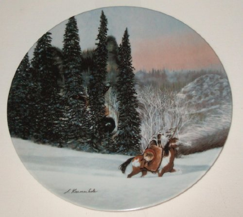 """The Bradford Exchange: Second Issue in THE FACES OF NATURE Collection """"WOLF RIDGE"""" by Julie Kramer Cole and Issued on W.S. George Fine China - Limited Edition Decorative Plate Native American Design"""