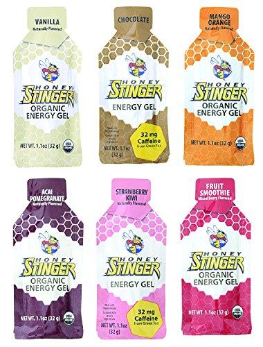 Honey Stinger Organic Energy Gel, 6-Flavor Variety Sampler Pack,1.1 Ounce, 2 of each flavor (Pack of 12) (Best Gel Packs For Running)