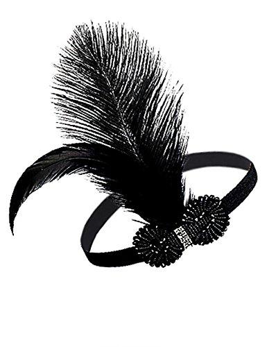 Kayamiya Women's 1920s Great Gatsby Headband Beaded Feather Inspired Flapper Headpiece Black - Daisy Gatsby Dress