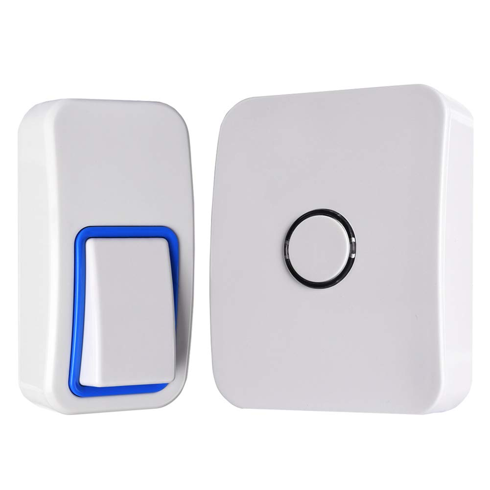 WGOAL Kinetic Wireless Doorbell Kits, No Battery & Wi-Fi Required for Push Button and Chime,Self-powered Transmitter and AC110-120V Receiver,IPX7 Waterproof,393.7 FT Range, 25 Chimes (White)