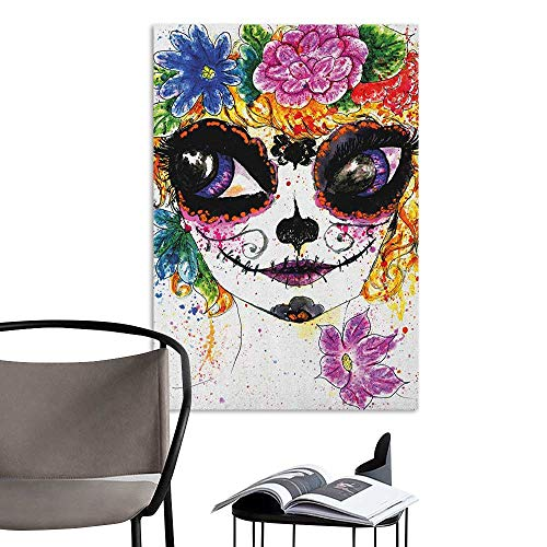 (Jaydevn Wall Mural Wallpaper Stickers Sugar Skull Cultural Celebration Mexican Traditional Make Up Girl Face in Watercolors Art Multicolor Warm and Romantic W20 x)