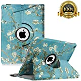 """New iPad 9.7 inch 2018 2017/ iPad Air Case - 360 Degree Rotating Stand Smart Cover Case with Auto Sleep Wake for Apple iPad 9.7"""" (6th Gen, 5th Gen)/iPad Air (Apricot Blossom)"""