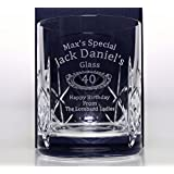 Engraved/Personalised JACK DANIELS BIRTHDAY Crystal Whiskey Glass Tumbler Gift For 18th/21st/30th/40th/50th/60th/65th/70th