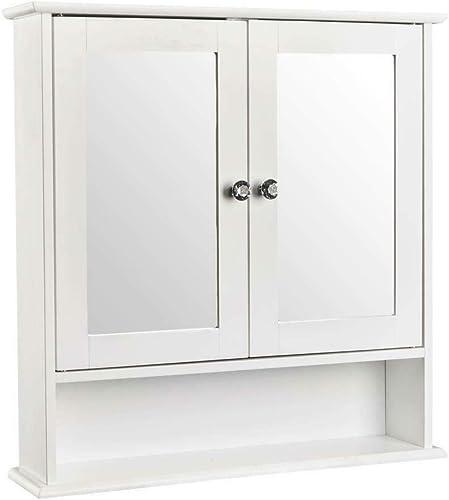 Storage Cabinet 2 Mirror Door Organizer Wall Mount Bathroom Toilet Medicine Cabinet Kitchen Laundry